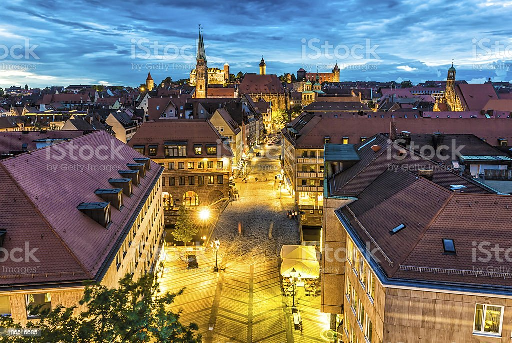 Nuremberg at night stock photo