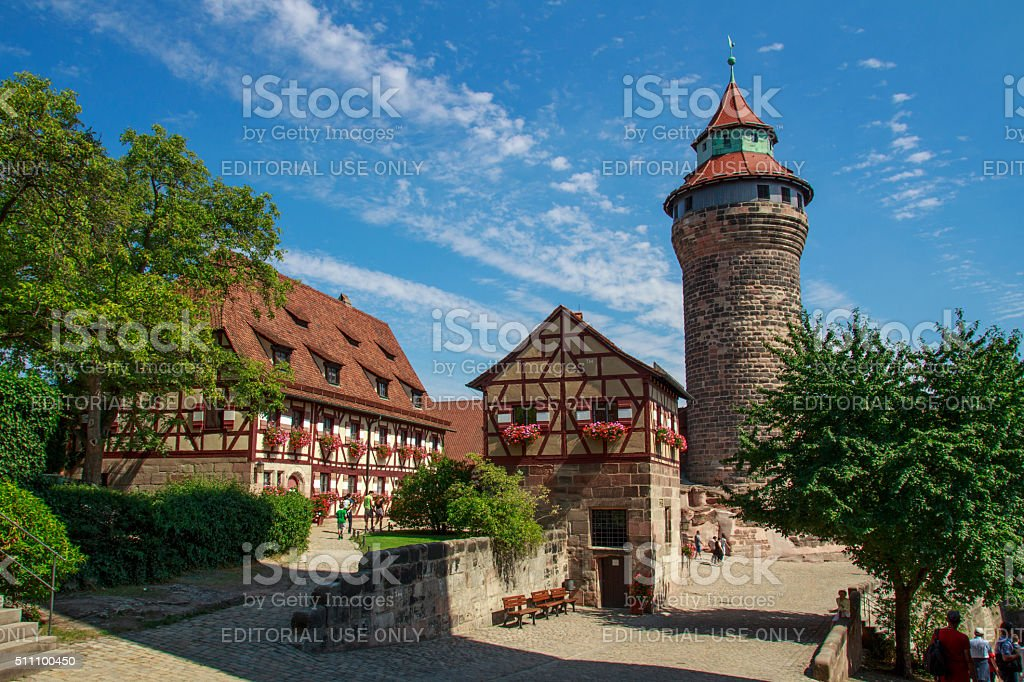 Nuremberg Castle and the Sinwell Tower, Germany, 2015 stock photo