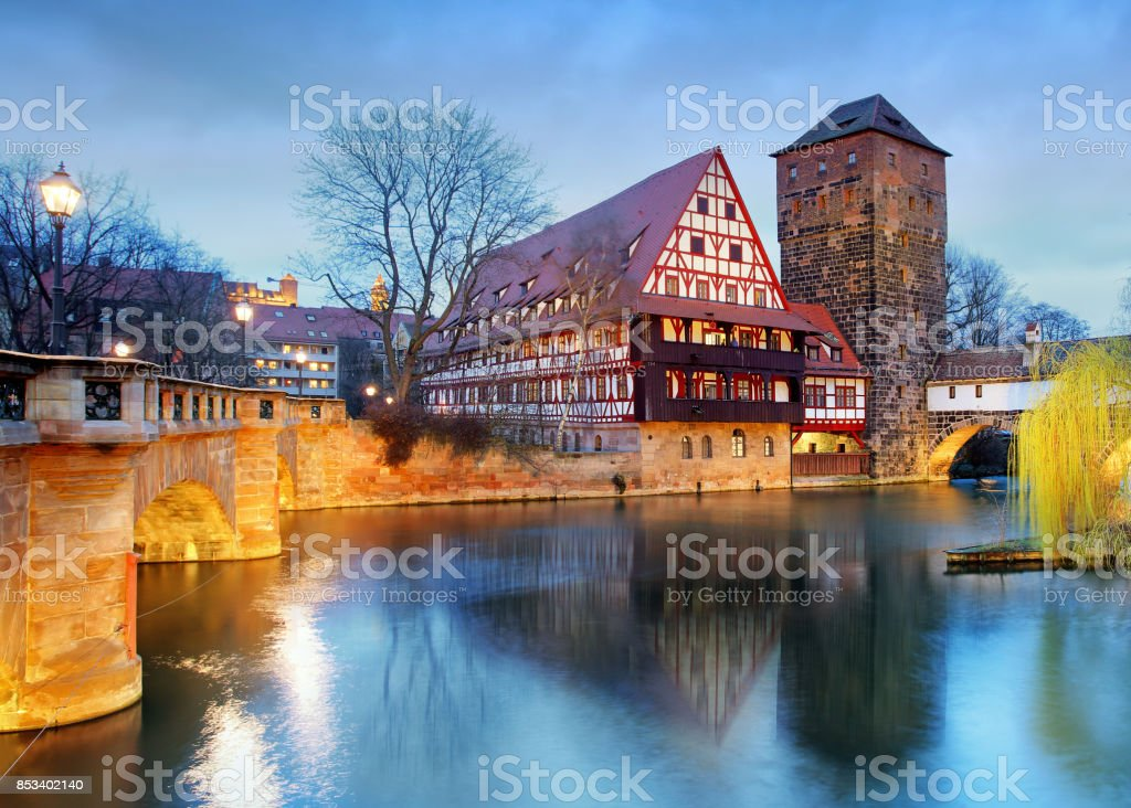 Nuremberg, Germany at Bridge. stock photo