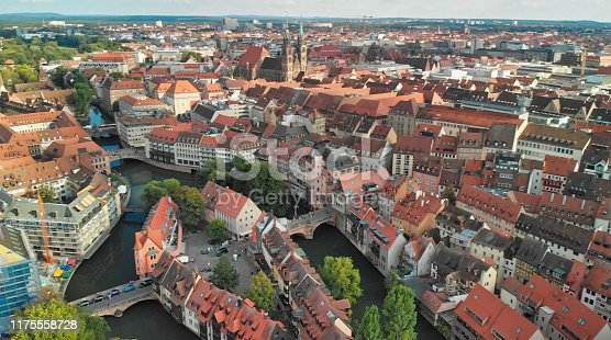 Nuremberg, Germany. Drone aerial view from a vantage viewpoint along city river.