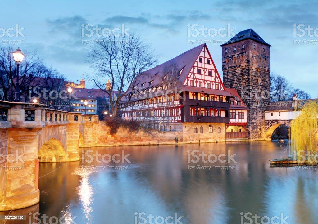 Nuremberg town, Germany, The riverside of Pegnitz river stock photo