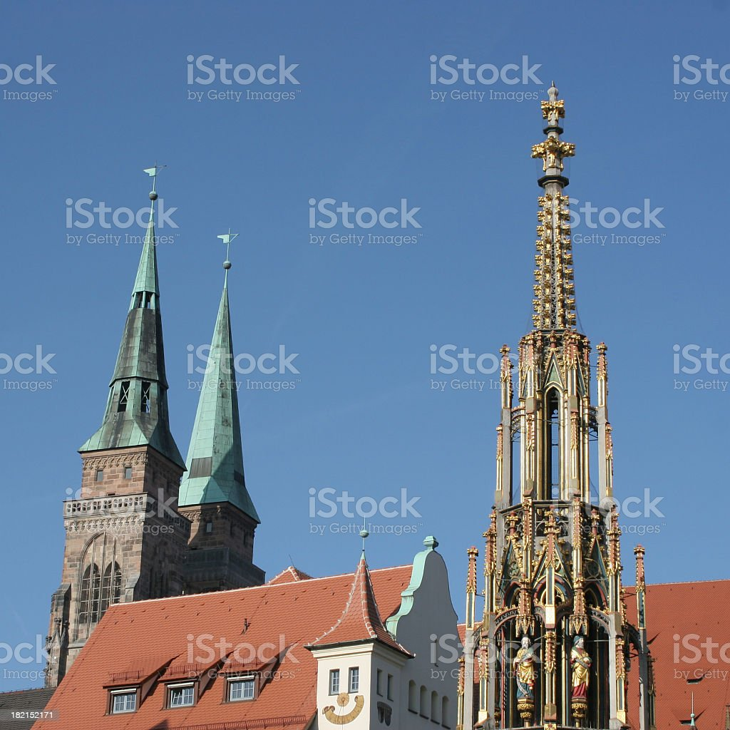 Nuremberg view with church towers stock photo