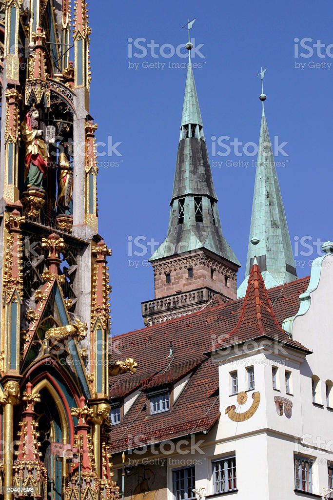 Nuremberg view with church towers royalty-free stock photo