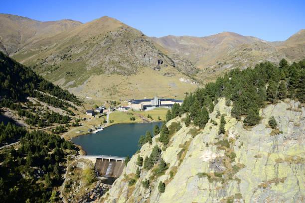 Nuria as seen from the Queralbs to Vall de Nuria Trail, Pyrenees mountain range, Spain stock photo