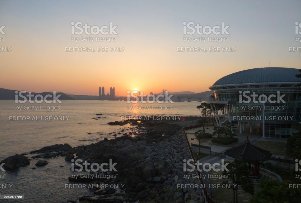 Nurimaru APEC House and Gwangan Bridge in South Korea stock photo