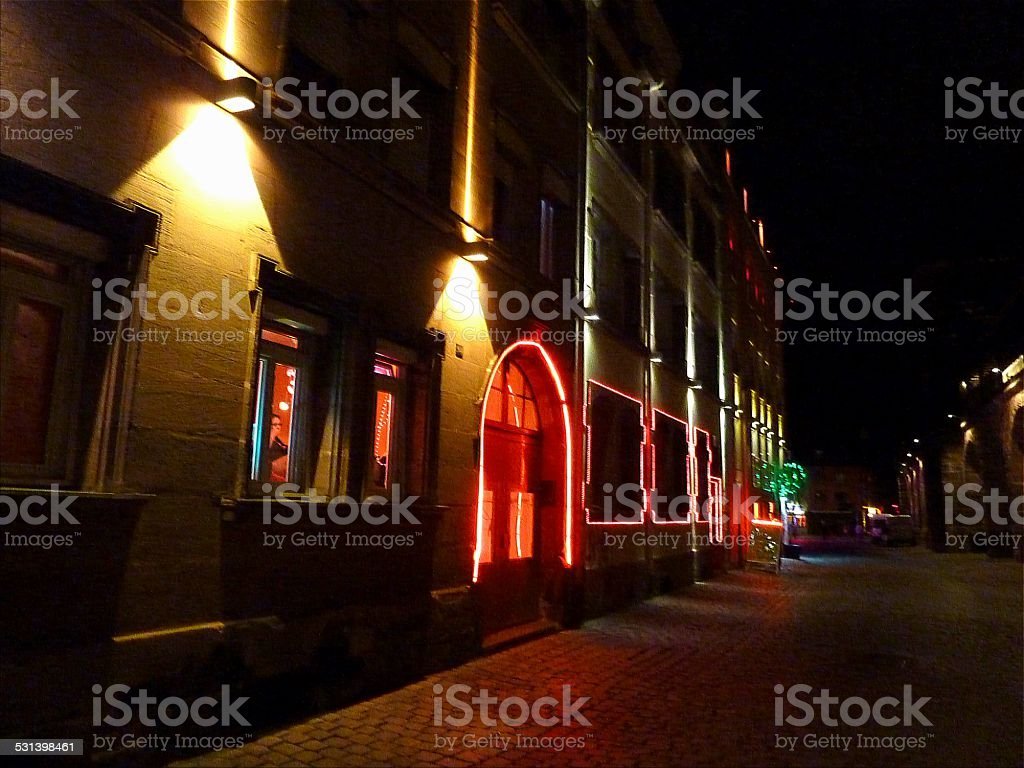 Nurnberg's Red light street Frauentormauer, Germany stock photo
