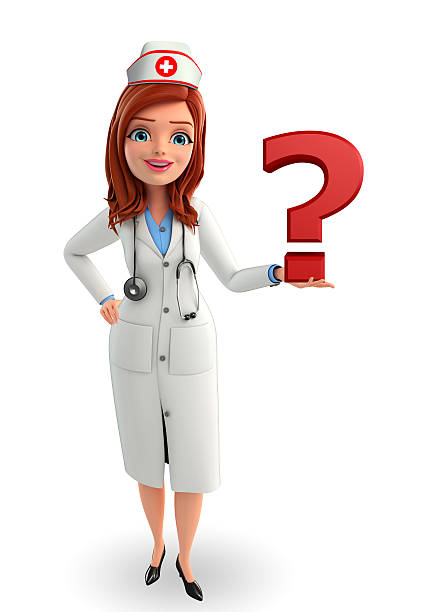 nurse character with question mark - question mark asking doctor nurse stock photos and pictures