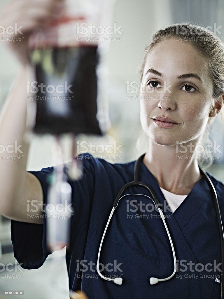 Nurse checking blood bag stock photo