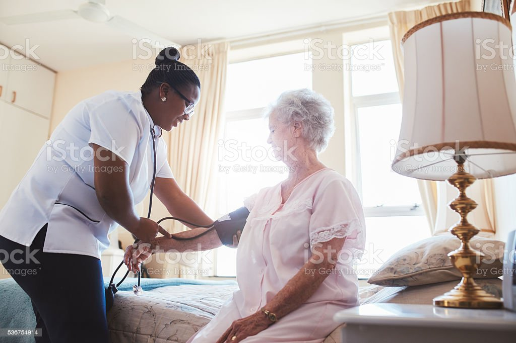 Nurse Checking Blood Pressure Of Female Patient Stock -3406