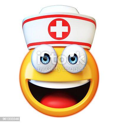 istock Nurse emoji isolated on white background, first aid, medic emoticon 961333346
