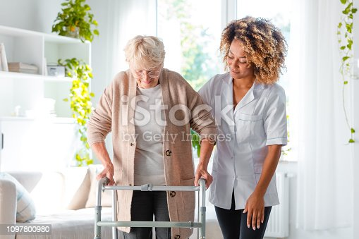 Afro american female home nurse supporting senior woman in using mobility walker at home.