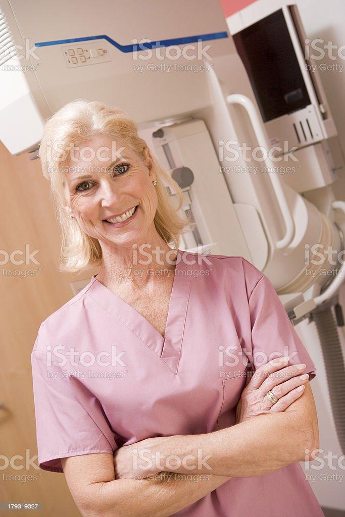 Nurse In Front Of Mammogram Machine royalty-free stock photo