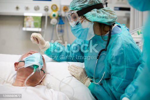 istock Nurse is comforting a covid patient at the ICU 1255592872