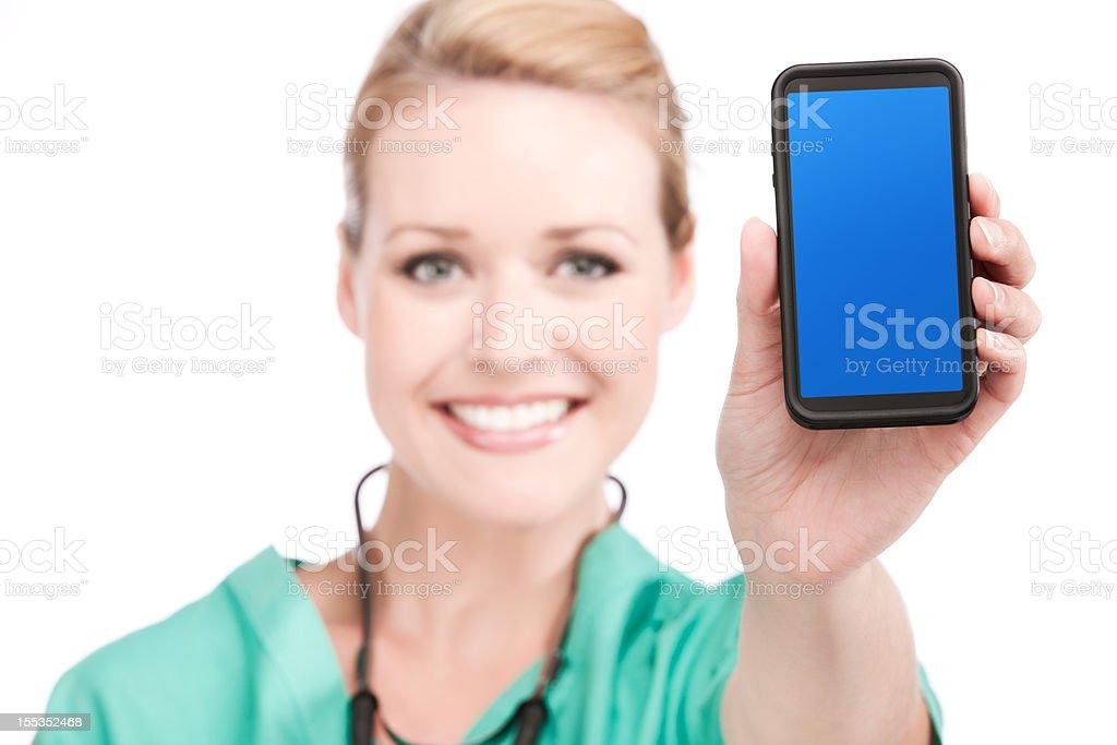 Nurse Presenting Blank Digital Phone royalty-free stock photo