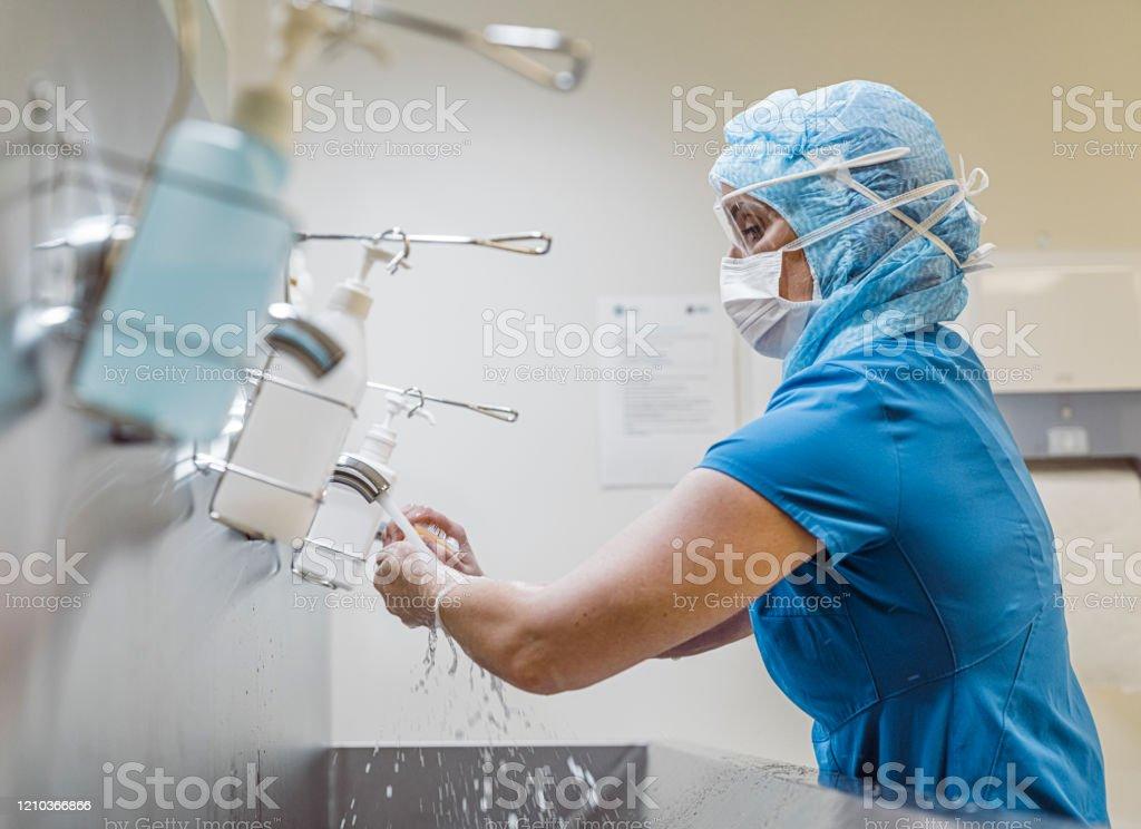 Krankenschwester waschen Hände, um Covid 19 Virus zu vermeiden. - Lizenzfrei Abbürsten Stock-Foto