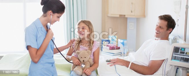 istock Nurse with father and daughter in hospital 116377682