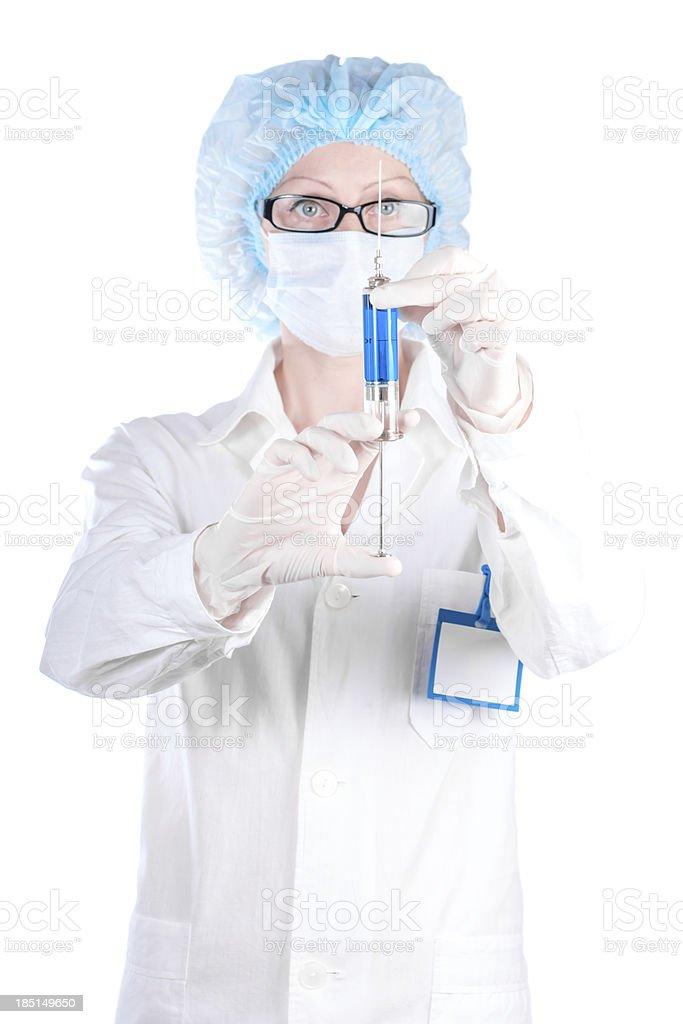 Enfermera Mujer Sosteniendo En La Mano De La Jeringa Con Una Vacuna ...