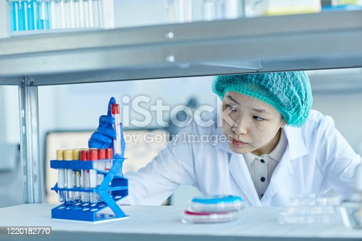 162264253 istock photo Nurse working with samples 1220182770