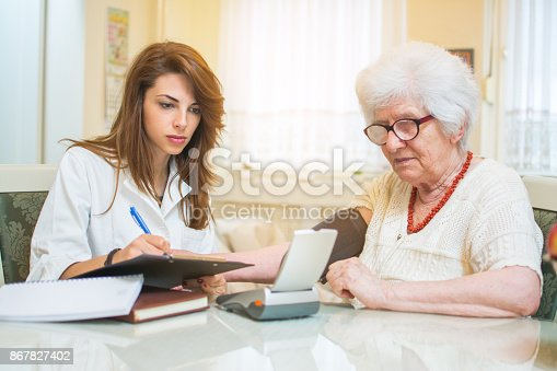 istock Nurse writing to clipboard results of blood pressure measurement of female senior patient. 867827402