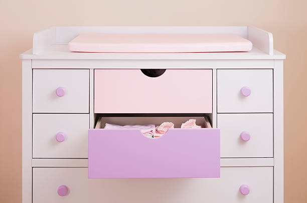 Nursery Drawers Baby Changing Chest. stock photo