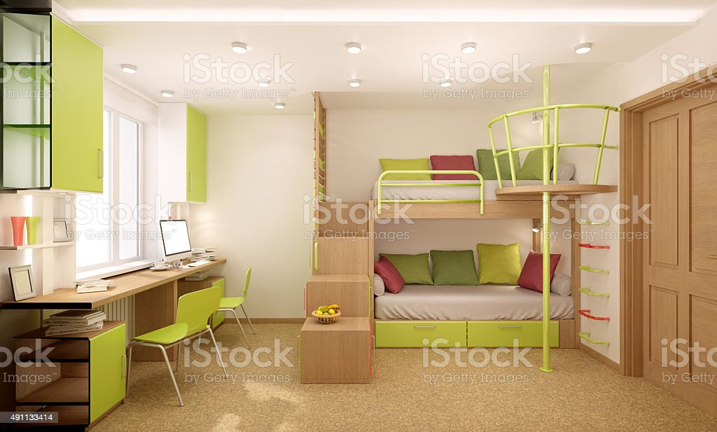 Nursery in green shades stock photo