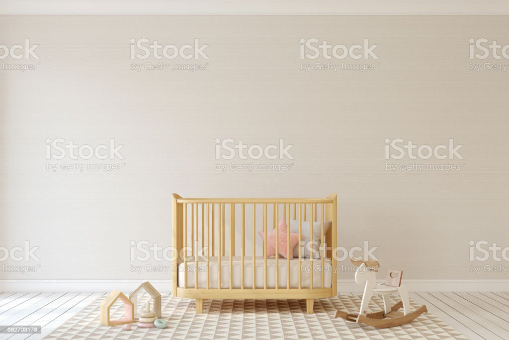 Nursery interior. Mock-up. stock photo