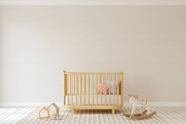 Nursery interior. Mock-up. Interior of nursery in scandinavian style. Mock-up. 3d render. crib stock pictures, royalty-free photos & images