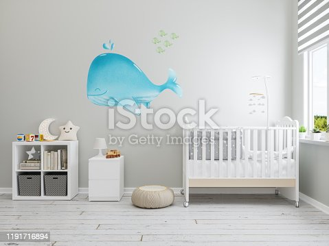 Nursery Interior with Whale Wallpaper On The Wall