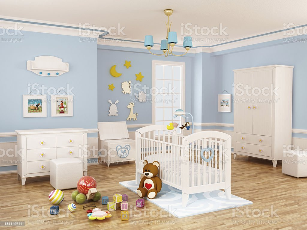Nursery room (Blue) stock photo