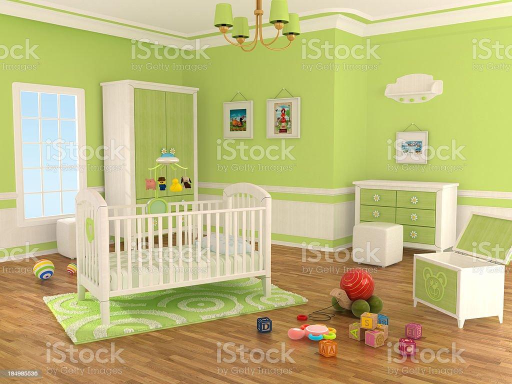 Nursery room (Green) royalty-free stock photo