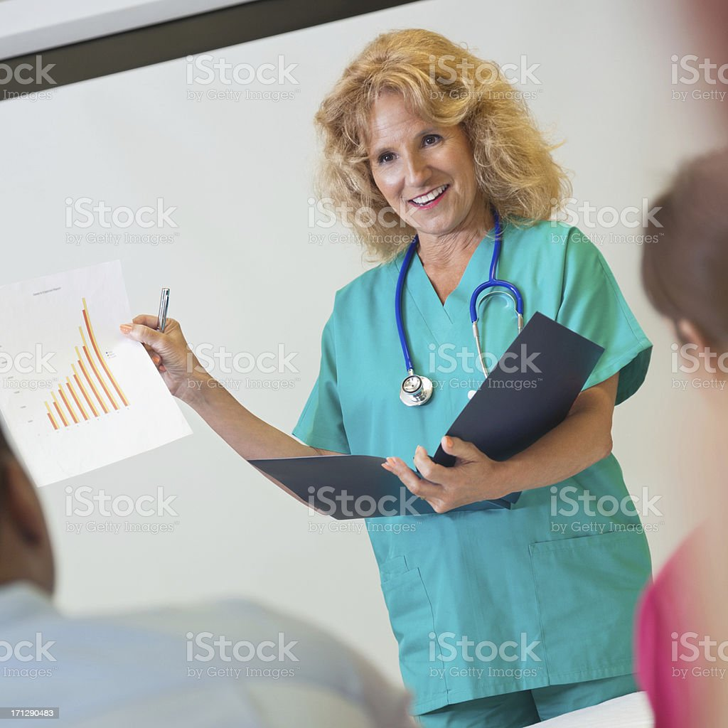 Nursing instructor explaining medical chart to students in class royalty-free stock photo