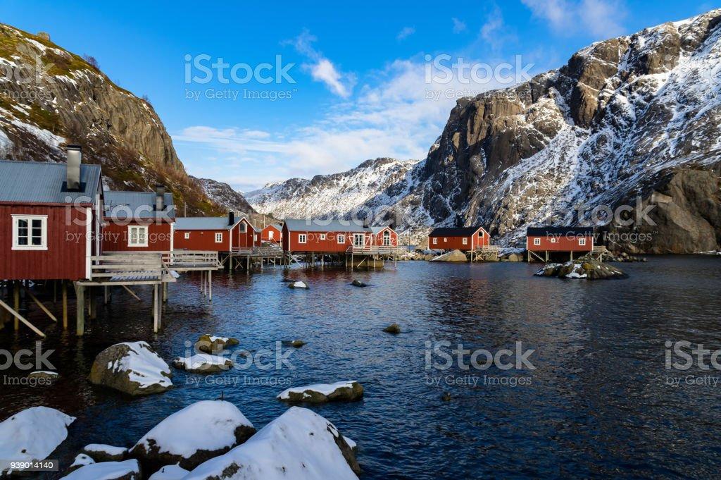 Nusfjord en eski şehrin Lofoten, Norveç royalty-free stock photo