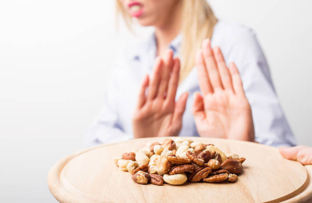nut allergies - food allergies stock photos and pictures