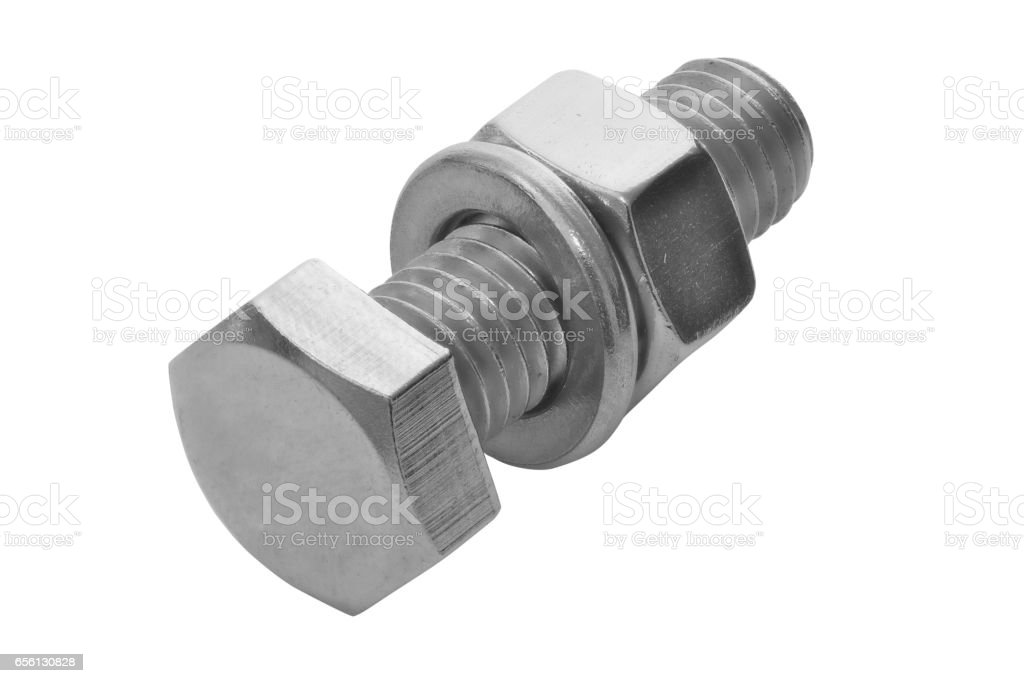 Nut and bolt isolated stock photo