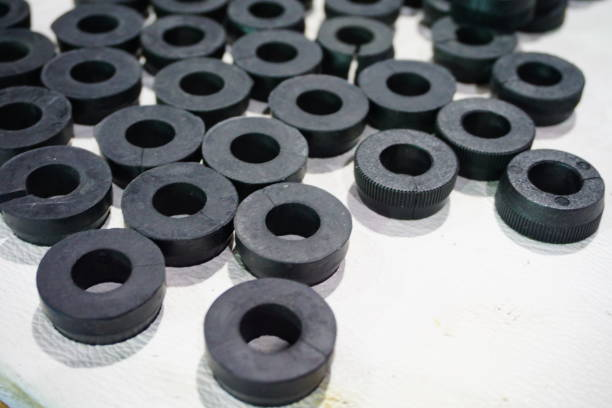 Nut and rod to the machine mechanism rubber, Try, hole, Engine, Iron - Metal, rubber, washer fastener stock pictures, royalty-free photos & images