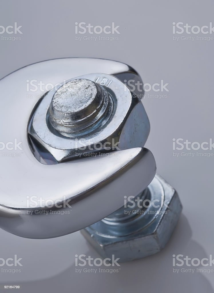 Nut Bolt & Wrench stock photo
