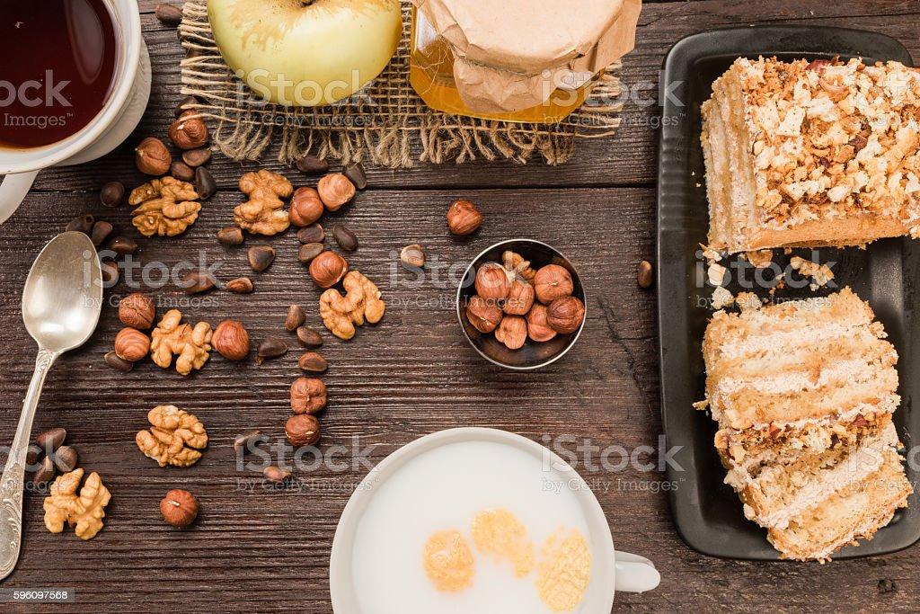 Nut cake closeup Lizenzfreies stock-foto