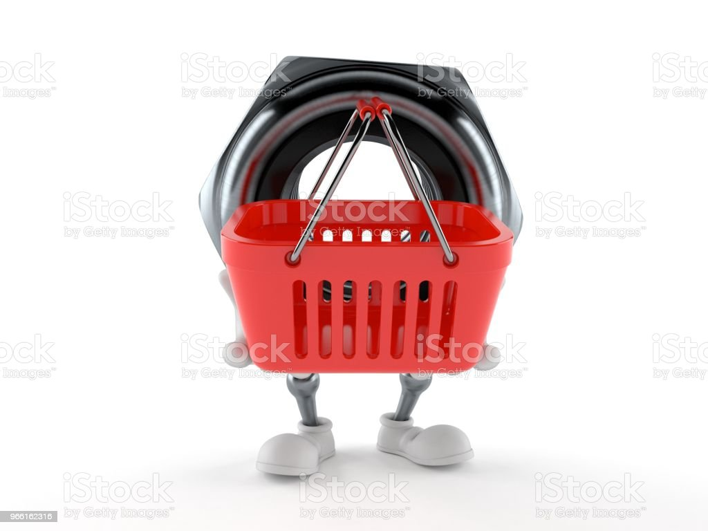 Nut character holding shopping basket - Стоковые фото Белый фон роялти-фри