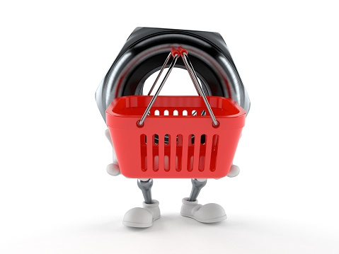 Nut Character Holding Shopping Basket — стоковые фотографии и другие картинки Белый фон