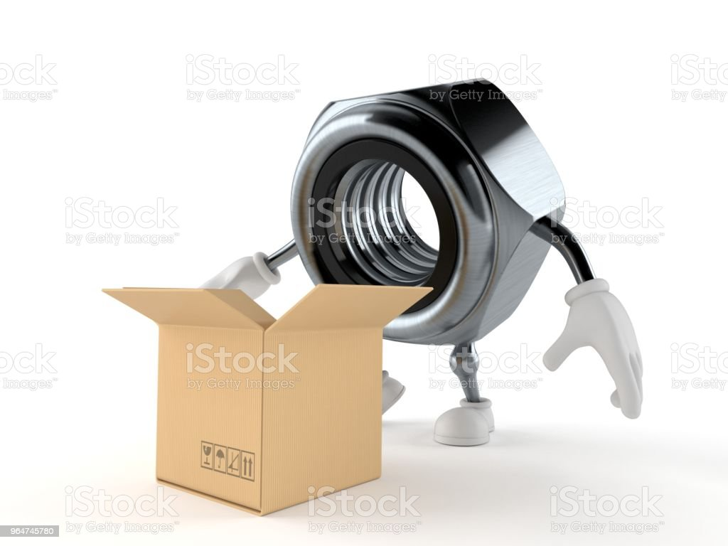 Nut character with open cardboard box royalty-free stock photo