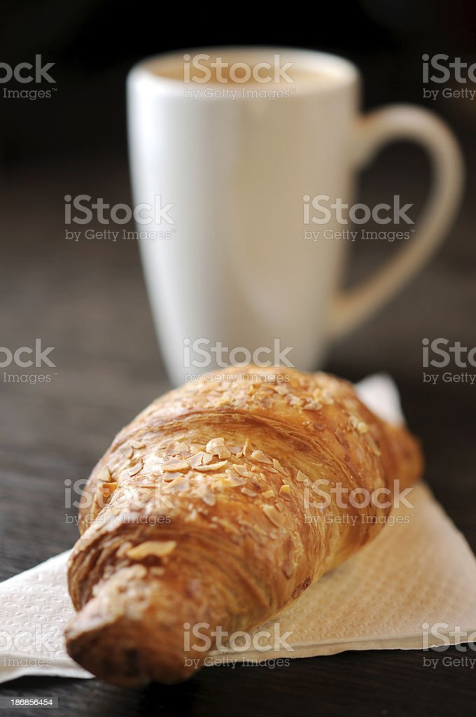 Nut Croissant and coffee royalty-free stock photo