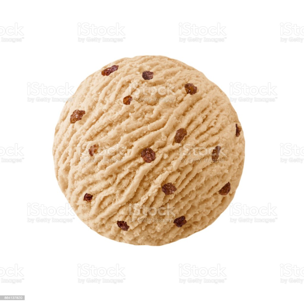 Nut ice cream scoop with raisins pieces royalty-free stock photo