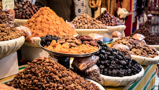 Close shot of a nuts in a store in the streets of Fez, Morocco.
