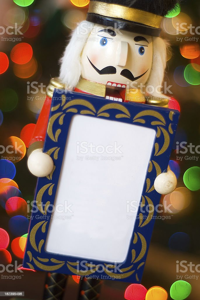 Nutcracker Holding Blank Sign royalty-free stock photo