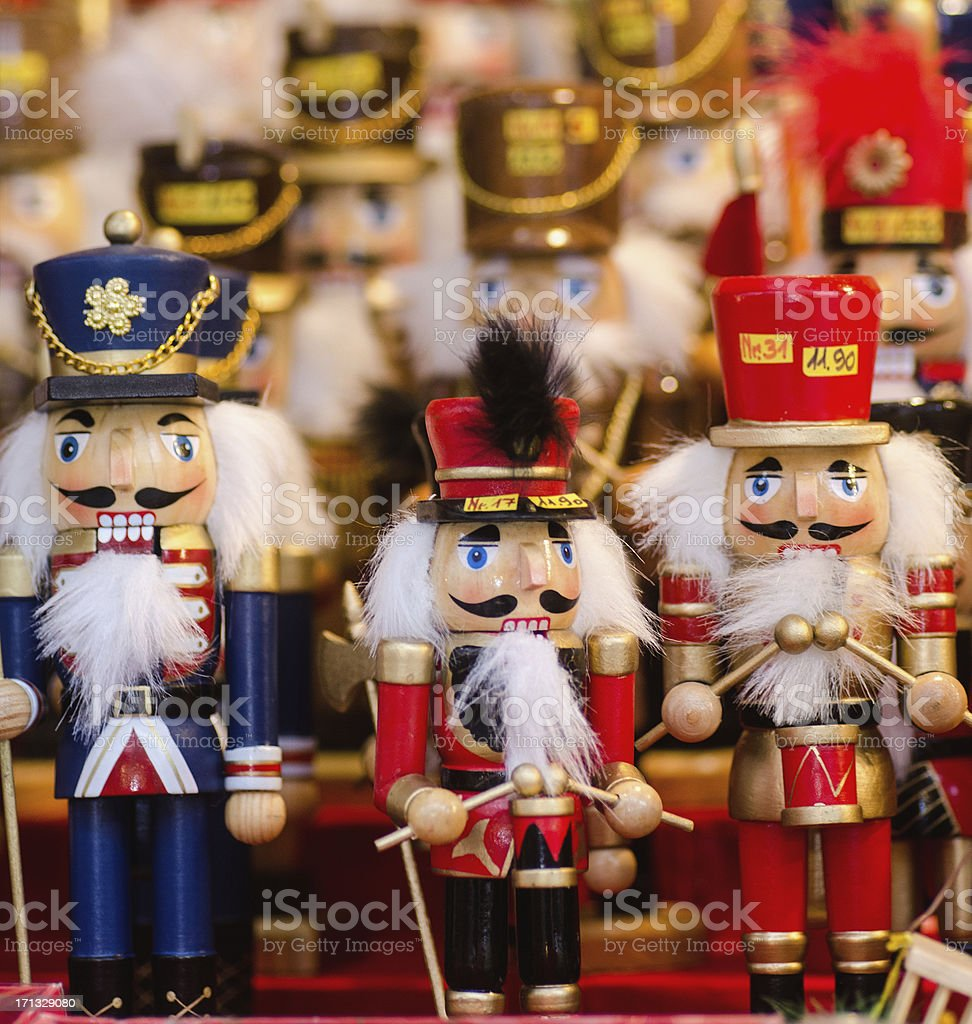 Nutcrackers at Christmas Market in Nuremberg stock photo