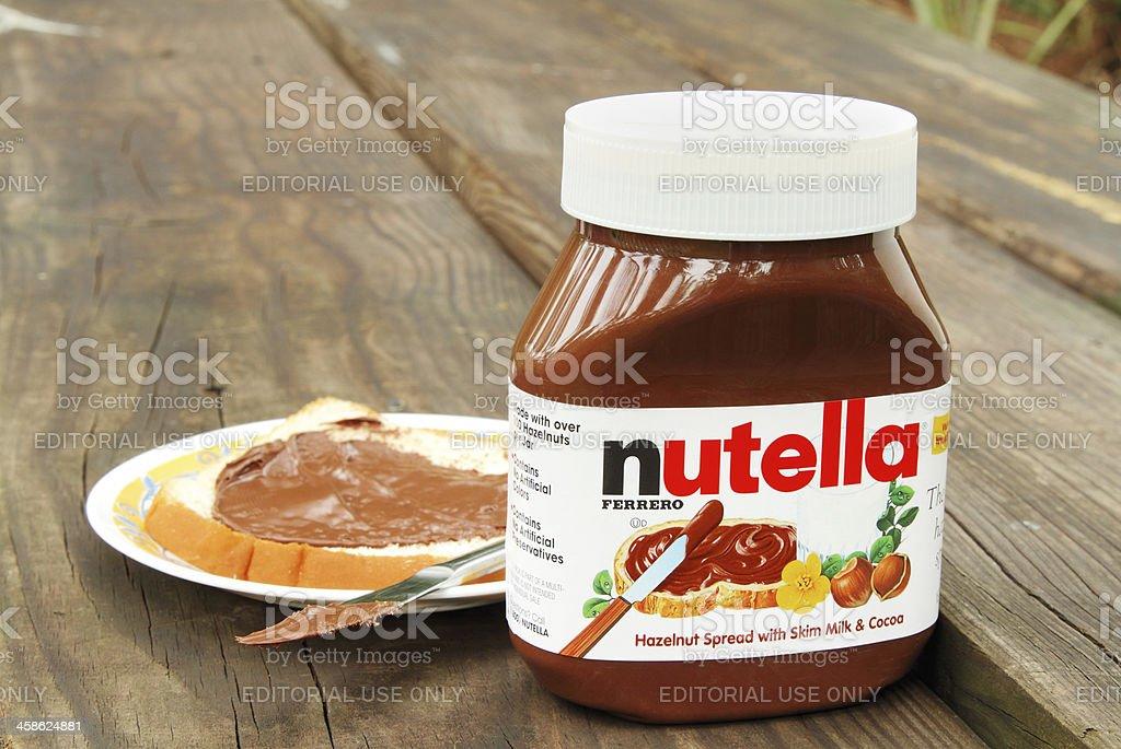 Nutella hazelnut and cocoa spread - Royalty-free Brood Stockfoto