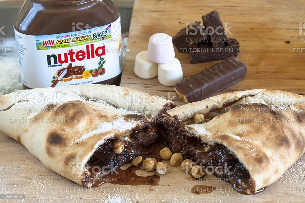Nutella With Other Assorted Chocolate And Sweets stock photo