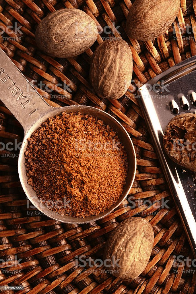 Nutmeg in Measuring Spoon royalty-free stock photo