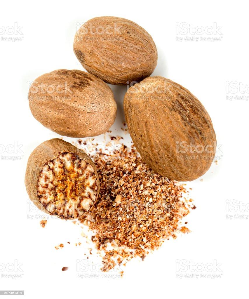 nutmeg isolated on white stock photo