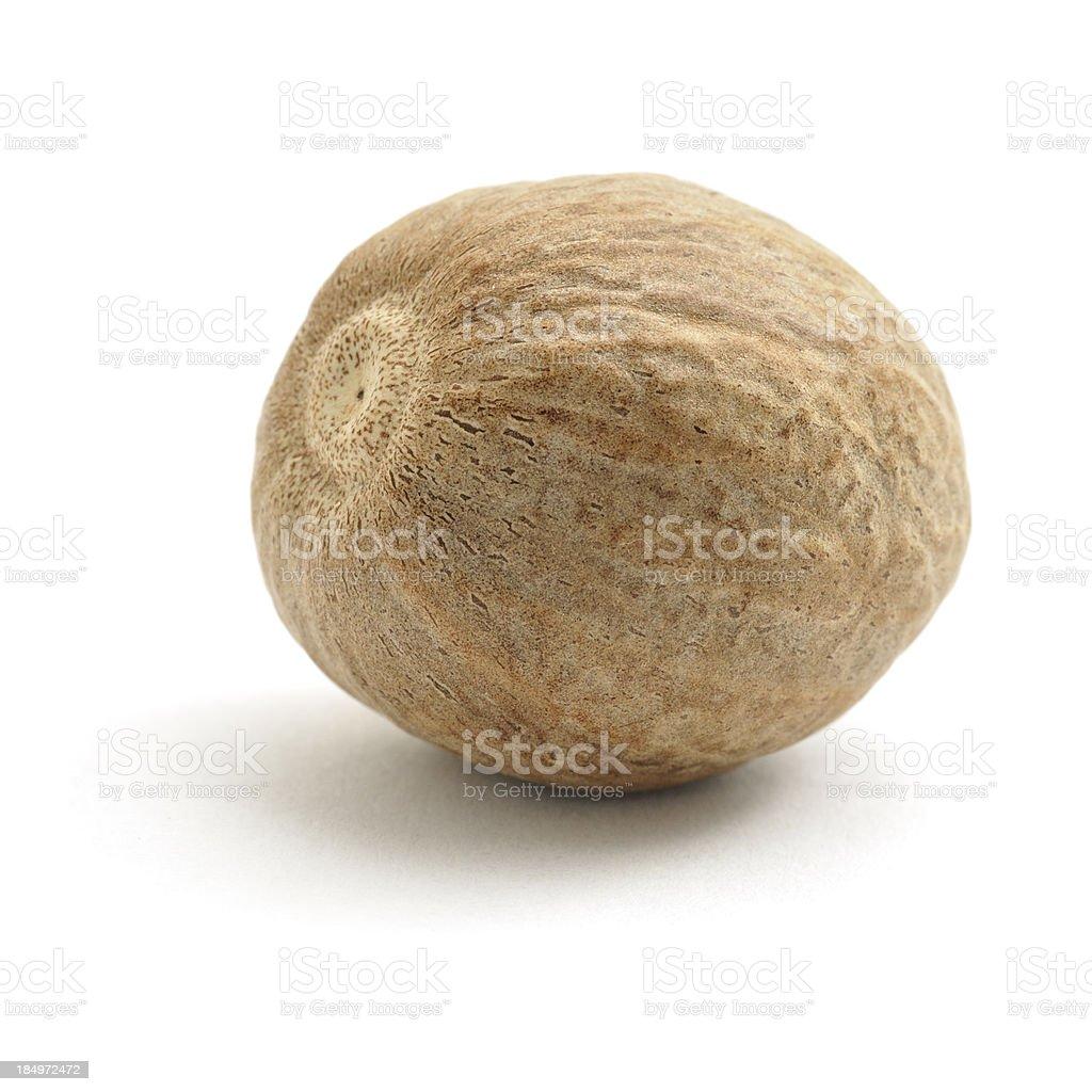 Nutmeg Nutmeg isolated on a white background. Brown Stock Photo